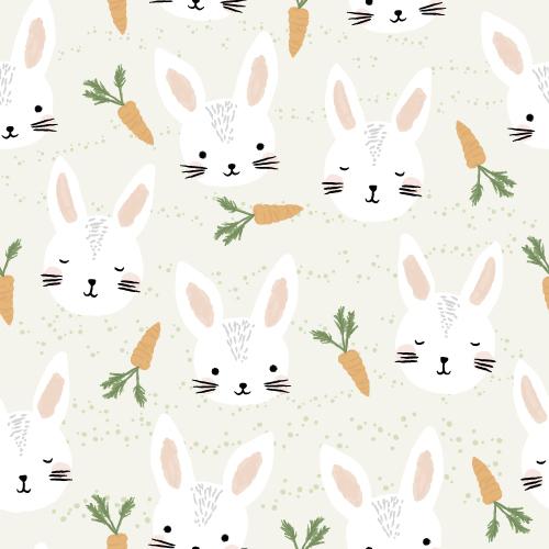 Süßes Pattern Design aus Illustrationen für Kinder, mit Häschen und Möhren. | www.juliakleindesigns.de | Surface Pattern Design und Illustration