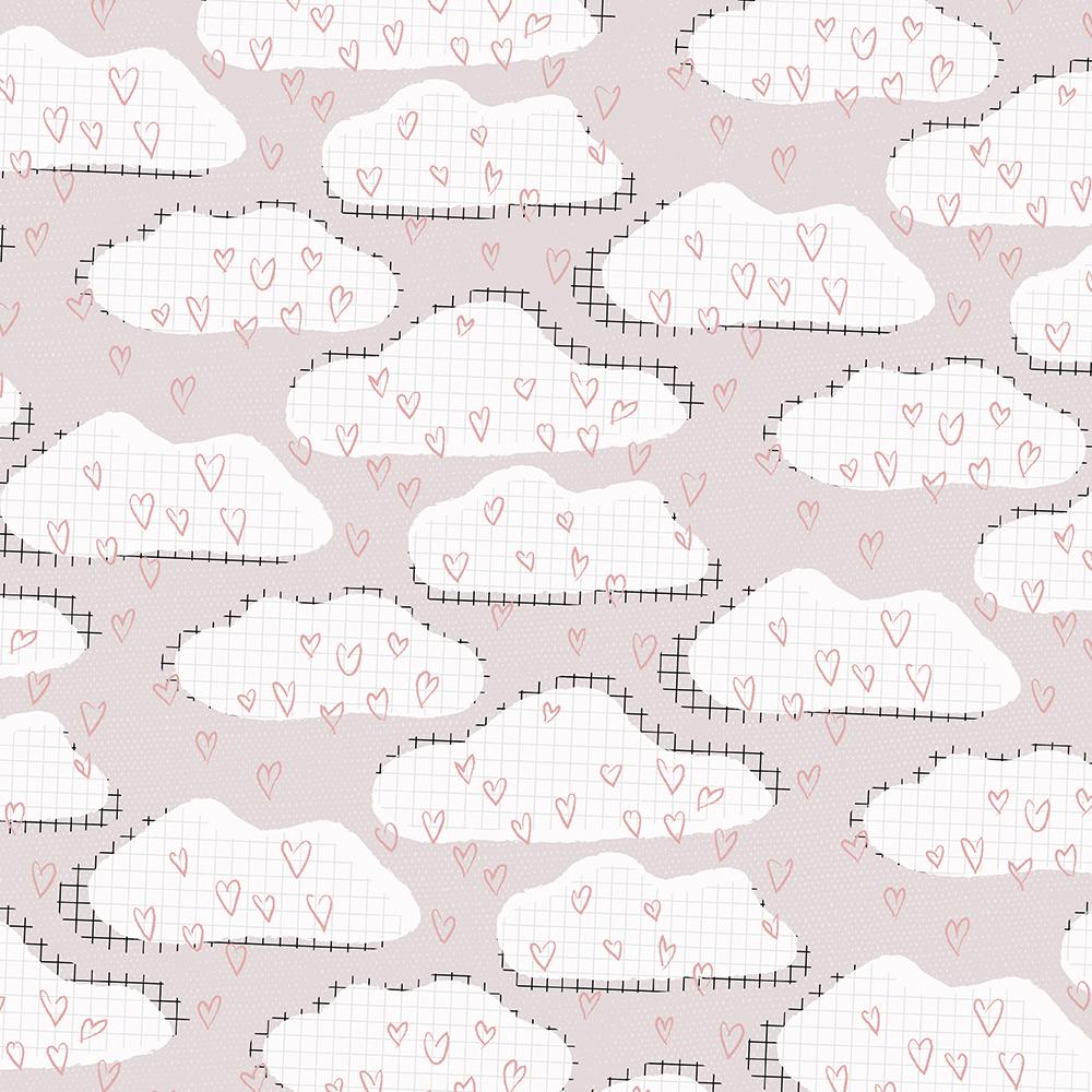 Kleine Wolken und Herzen als Pattern Design für Produkte für Kinder. | www.juliakleindesigns.de |Surface Pattern Design und Illustration