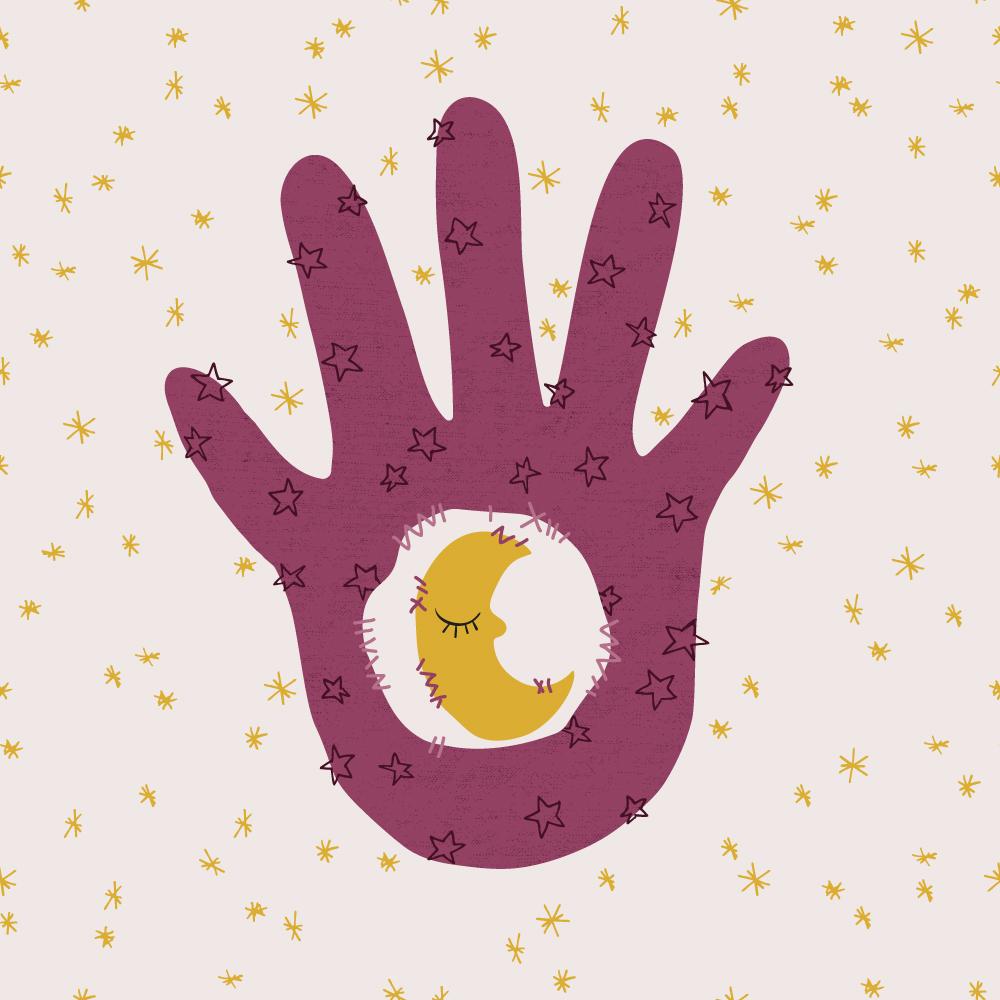 Pattern Design mit einem Mond und einer Hand. Schön für Produkte für Kinder. | www.juliakleindesigns.de | Surface Pattern Design und Illustration