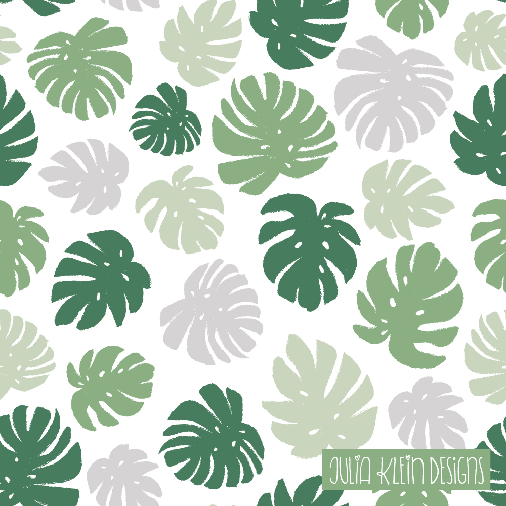 Pattern Design mit Monstera Blättern. Greenery Trend. | www.juliakleindesigns.de | Surface Pattern Design und Illustration