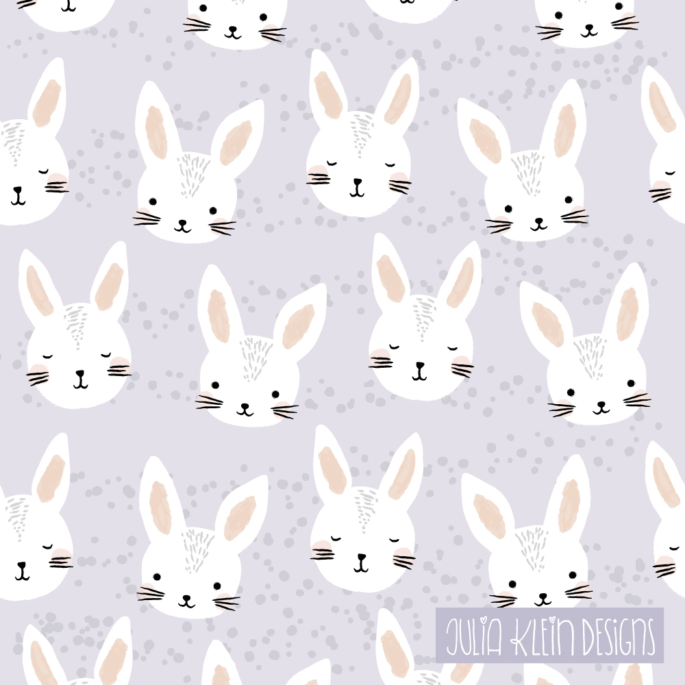 Süßes Pattern Design aus Illustrationen für Kinder, mit Häschen in Lila. | www.juliakleindesigns.de | Surface Pattern Design und Illustration