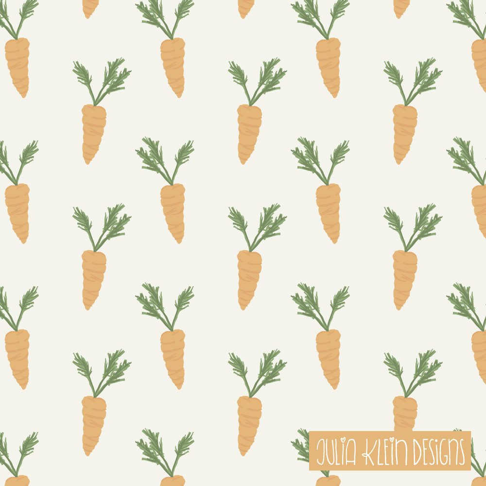 Süßes Pattern Design aus Illustrationen für Kinder, stilecht mit Möhren zu Ostern. | www.juliakleindesigns.de | Surface Pattern Design und Illustration